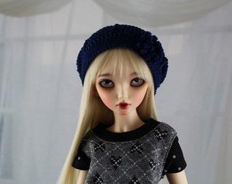 Navy Blue Crochet Hat for MSD BJD, Minifee, MNF