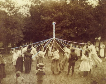 Maypole Dance Sepia Brown Vintage Photo.  Digital Download.