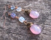 Earrings. Pastel  Mismatched Earrings. Pale Pink, Lavender. Wire Wrapped Briolette Earrings. Heart Earrings. Long Earrings. Pink and Purple.