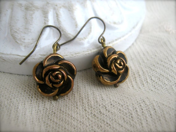 Gold Rose Earrings. Vintage Floral. Flower Earrings. Dangle Drop Earrings. Romantic. Cabbage Rose. Shabby Chic.