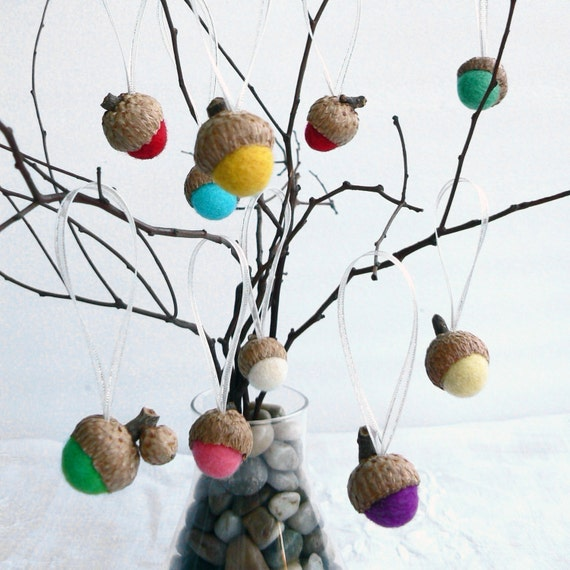 10 Colorful Acorn Decorations w Organza ribbon w silver thread. natural, eco friendly, nature and Waldorf inspired wool home decor.