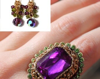 Regal Purple Crystal Adjustable Cocktail Ring and Earring Set