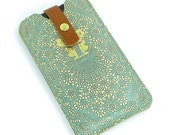 Leather iPhone 6 case/ iPhone 5s Case/ Galaxy S5 Case - Teal Lace
