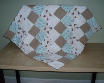 Flannel and chenille quilt/aqua and caramel
