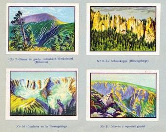 Vintage Illustrations of Mountains and Geological Eras - Published 1932 - - Sheet 33 - Sheet of 12 Images