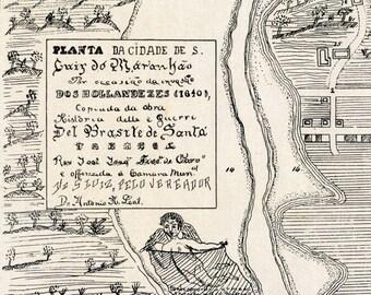 1922 Antique Plan of São Luís do Maranhão, Brazil, in 1640 - Charming map