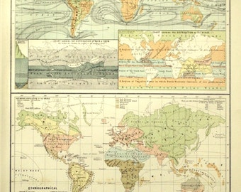 1890 Antique World Maps - Physical and Ethnological Charts - Large Special Library Edition
