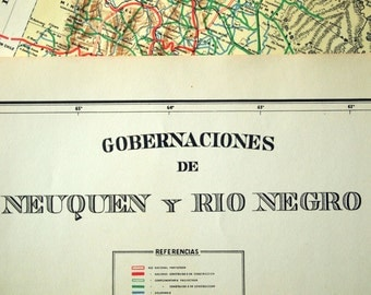 1938 Rare Poster-sized Limited Edition Vintage Map of Nequen and Rio Negro, Argentina