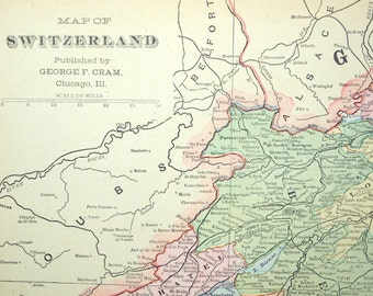 1901 Antique Map of Switzerland - Antique Switzerland Map - Switzerland Antique Map