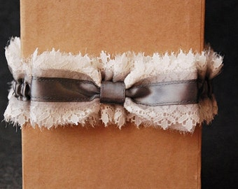 Wedding Garter - Gray Chiffon and Lace Bridal Garter with Bow - Emmi
