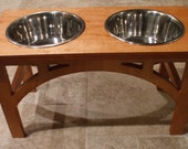 Raised Dog Feeder 2 Qt 12 Inch Double - Sellwood Design - Elevated Pet Feeder - Raised Dog Bowl - Elevated Dog Bowl - Dog Bowl Stand