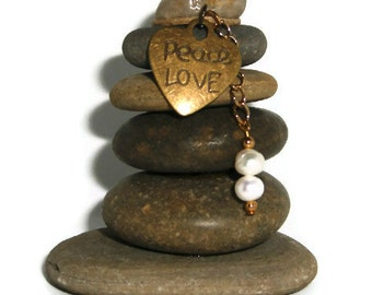 Peace Love Rock Cairn, Zen, Inspirational, Harmony, Calm, Quiet, Hippie, Relax, Chill