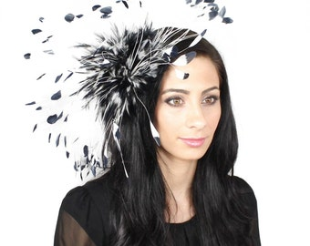Eagle - Navy and White Fascinator Kentucky Derby or Wedding Hat on a Headband