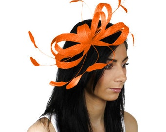 Sinamay Butterfly Orange Fascinator Hat for Weddings, Races, and Special Events With Headband