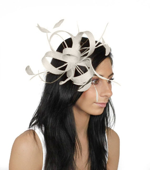 White Four Plus One Loops Fascinator Hat for Weddings, Races, and Special Events With Headband