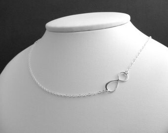 silver infinity necklace. OFF CENTER. asymmetrical. sterling. small. simple figure eight. delicate. dainty. zen jewelry. infinite love.