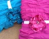 Solid Ruffle Fabric in Fuschia or Turquoise 1 yard