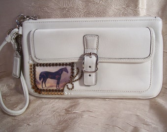 SALE.....  White Leather Wristlet Purse with Vintage Horse and  Crystals