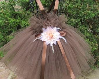 CHOCOLATE BROWN. TUTU Dress.  Flower Girl Gown. Birthday Tutu Dress.  Photo Shoots.  Girl Tutu Dress.