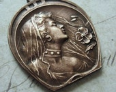 Art nouveau gypsy girl lady pendant in brass