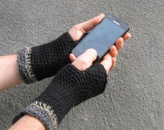 men's fingerless gloves/ black wool n' hemp crochet