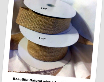 """Burlap Ribbon by the ROLL 1.5"""" Natural Jute-Wired Edge-Rustic wedding Ribbon"""