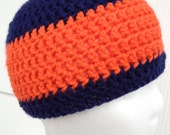 Chicago Bears Denver Broncos  Blue & Orange Crocheted Beanie.  Great for NFL fans going to the game