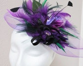 Purple Fascinator - Green Fascinator Hat Derby Hat  PURPLE PEOPLE