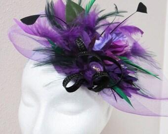 Purple Fascinator - Green Fascinator Hat Derby Hat  PURPLE PEOPLE