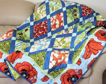 Lap Quilt or Sofa Throw, Modern Poppy and Dogwood floral in Tangerine Orange and Aqua Blue Laura Gunn Fabrics, Quilted Throw, Boho Chic