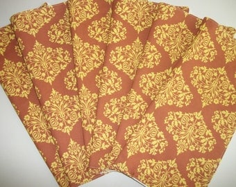 Cloth Napkins Set of 6 Yellow and Brown Amy Butler Midwest Modern Parks Fountain