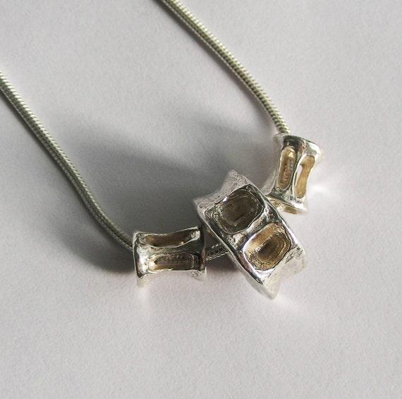 Sterling Silver Triple Shark Vertebrae Necklace