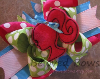 Doll Embroidered Felt Layered Boutique Style Hair Bow, Birthday Hair Bow, Layered OTT Hair Bow, Little Girl Hair Bow
