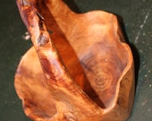 Burl Bowl Basket with Handle Hand Carved Crafted Wood Art Sculpture