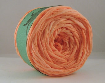 T Shirt Yarn Hand Dyed- Peach  60 Yards- Jersey Yarn- Cotton Yarn- Orange yarn- Peach Yarn- Upcycled Yarn