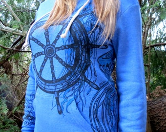 Ship Wheel, Jellyfish and Octopus on Blue Pullover Hoodie