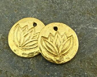 Lotus - Rustic Artisan 24K Gold Vermeil Disk Charms - One Pair - chlprv