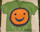 Orange Happy Face on Green Tie Dye T-Shirt (Fruit of the Loom Size 3XL) (One of a Kind)