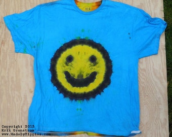 Yellow Smiley Face on Blue Tie Dye T-Shirt (Fruit of the Loom Size 2XL) (One of a Kind)