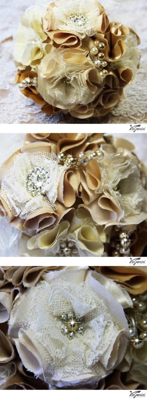 Bridal Bouquet CARAMEL Wedding Bridal Bouquet Jewelry By VioGemini