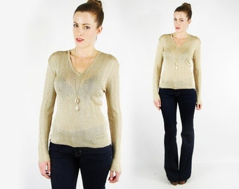 Metallic Gold Sweater Jumper Top Metallic Sweater 70s Sweater 70s Disco Sweater Knit Sweater V-Neck Sweater Sheer Thin Sweater Women M L