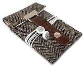 iPhone 5 case - black and brown herringbone wool