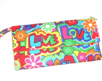 Wallet / Wristlet / Checkbook / Cell phone Pouch / Psychedelic Graffiti Love