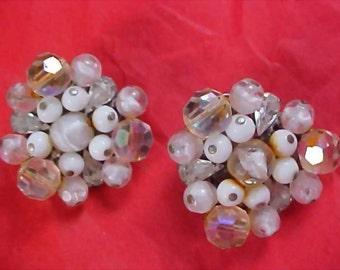 EUGENE - Hand Wired Crystal & Milk Glass Beads Clip Earrings