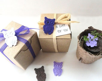 50 Owl Party Favors, Birthday, Wedding Favors, Bridal Showers - Plantable Seed Paper by Nature Favors