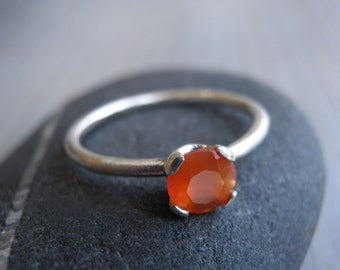 Engagement Carnelian Ring, Vintage Inspired Classic orange Ring, Sterling Silver Ring, Bridal Jewelry