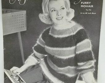 Vintage Angora woman knitting pattern,woman sweater,Furwul sweater knitting pattern,leaflet no 1082,knitting pattern,women knittinng pattern