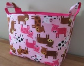 LARGE Fabric Organizer Basket Storage Container Bin Bucket Bag Diaper Holder Home Decor- Size Large  Urban Zoologie 3 Cows in Spring