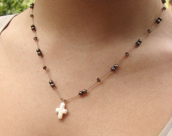 Pearl Cross Necklace with Chocolate Pearls