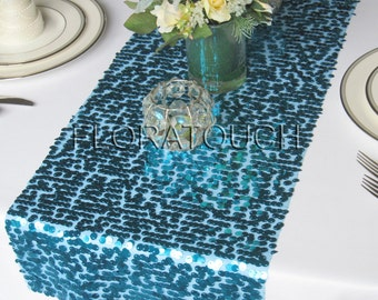 Turquoise Sparkling Sequins Wedding Table Runner